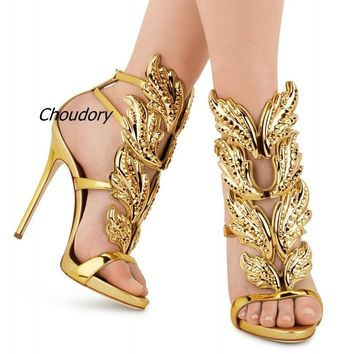 Sexy Bling Crystal Drilled Angle Wings High Heel Sandals Shiny Leather Bridal Gold Plated Winged Gladiator Wedding Sandal Shoes