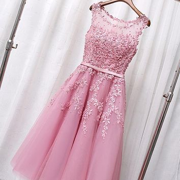 Cheap Red Blush Pink Bridesmaid Dresses 2017 Real Photos Appliques Beads Short Dresses for Wedding Party Junior Bridesmaid Dress