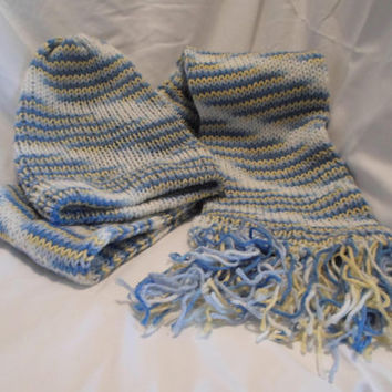 Soft Blue, Yellow, White Hand Knitted Scarf Hat Set