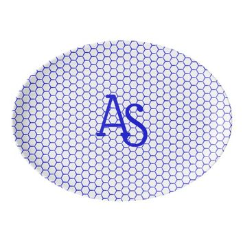 Blue pattern. Hexagonal grid. Monogram. Porcelain Serving Platter
