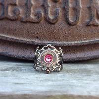 Bullet jewelry. Bullet ring with pink Swarovski stone