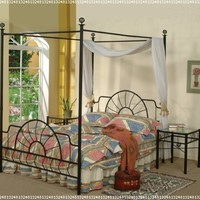 Black Metal Sunburst Canopy Bed Full Size (Bed) Frame:Amazon:Home & Kitchen