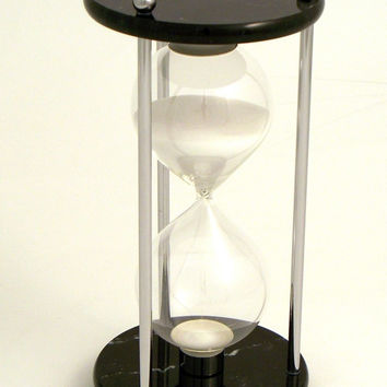 60 Minute Sand Timer in Chrome with a Black Marble Base