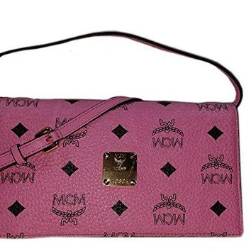 MCM Pink Large Visetos Crossbody Wallet Leather MYL4AVC46 Handbag Authentic