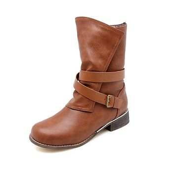 Soft Leather Mid Calf Motorcycle Boots?Winter Shoes for Woman 6609