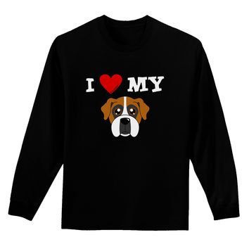 I Heart My - Cute Boxer Dog Adult Long Sleeve Dark T-Shirt by TooLoud
