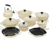 Le Creuset Signature 15-Piece Cookware Set with Tea Kettle