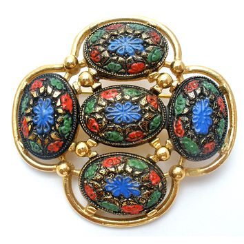 Sarah Coventry Light of the East Mosaic Brooch Vintage