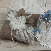 Lace and burlap Rustic Chic Wedding ring bearer pillow with rope, pearl and handmade lace flower