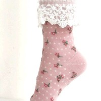 Lace Trim & Print Socks In Dusty Rose/ White Lace | Thirteen Vintage