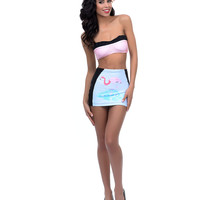Black & Pink Flamingo Print Goldie High Waist Swim Skirt