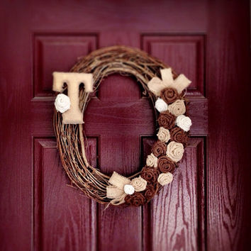 Wreath Burlap Initial Grapevine for Front Door by WeHaveWreaths