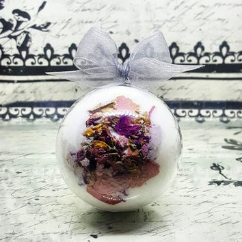 Rose Petal Bath Bomb | Fresh Rose Handmade Bath Bomb | Moisturizing Floral Bath | Romantic Valentines Gift for Her | Rose Lover | Vegan Gift