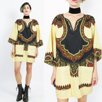60s 70s Hippie Dashiki Dress Ethnic Cotton Mini Dress Brown Floral Print Dress Festival African Pullover Tunic Dress Boho Hippie Top (L)