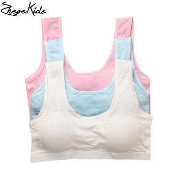 Girls Training Bras Sport Breathable Students Bra Cotton Soft Children Underwear Solid Kids Bras for Girls