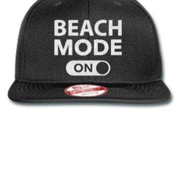 beach mode embroidery - New Era Flat Bill Snapback Cap