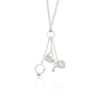 """Sterling Silver Engraved """"Love"""" Heart, Heart & Key, and Ring Charm Double Layer Necklace w- CZ"""