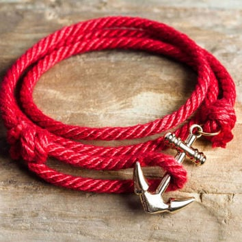 Nautical rope anchor bracelet - Red