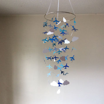Airplanes and Clouds in shades of blue hanging paper mobile! Blue and White, Baby nursery mobile, Crib Mobile, Boy/Girl/Teen/Tween mobile