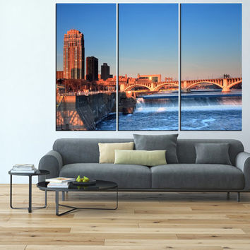 Minneapolis Skyline Canvas Print wall art, extra large wall art print, Minneapolis bridge canvas, minneapolis art, minneapolis print t550