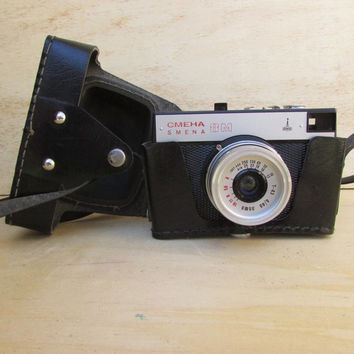 Vintage Mechanical Camera Smena 8M Lomo,35mm Film Viewfinder Camera,Soviet USSR Photo Camera, Travel Camera, Black Leather Case, Photography
