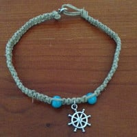 Ship Wheel Hemp Anklet/Bracelet