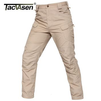 TACVASEN New IX7 II Men Tactical Pants BDU Waterproof Men's Cargo Pants Checker Slim Casual Pants Army Military Combat Trousers