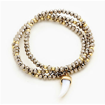 Gold & Silver Natural Stone Horn Charm Bead Stretch Wrap Bracelet / Necklace