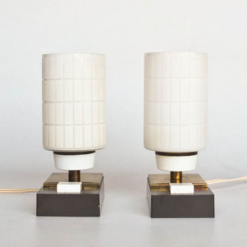 Vintage Table Lamp Pair / Bedside Lamps / 60's 70's Era Retro Lighting