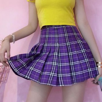 Harajuku Kawaii Purple Plaid Mini Skirt for Women Summer 2018 Korean Fashion Ulzzang Plaid Skirts Schoolgirl Streetwear