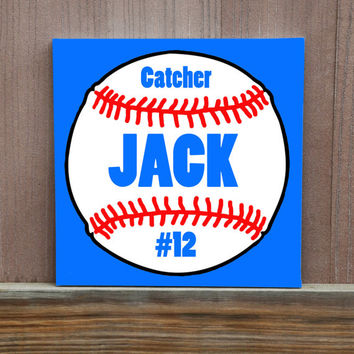 Personalized Baseball Name Canvas Kids Room Wall Decor