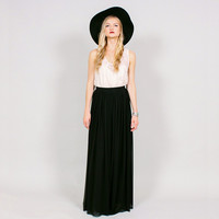 SHEER BLACK MAXI SKIRT - HIGH WAIST