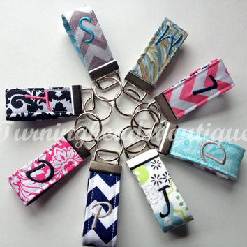 Single Initial Monogrammed Mini Key Chain /  Fabric Key Fob / Backpack Zipper Pull/ Gifts Under 10 DOLLARS