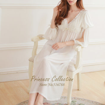Free Shipping Silk And Cotton Princess Nightdress Women's White Pijamas Long Nightgowns Vintage Sleepwear