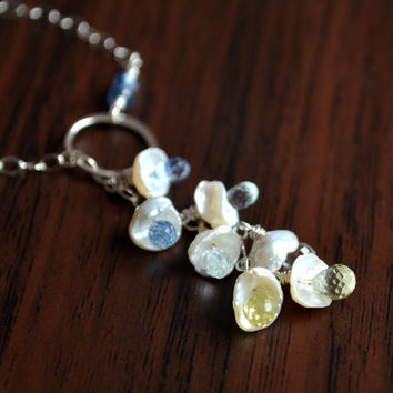 Sterling Silver Lariat Necklace, White Keishi Pearl, Kyanite Aquamarine Lemon Quartz, Spring Wedding, Gemstone Jewelry, Free Shipping