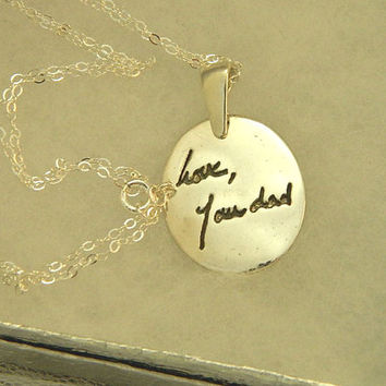 Medium Oval Signature Memory Pendant -  Handwriting Jewelry in Sterling Silver