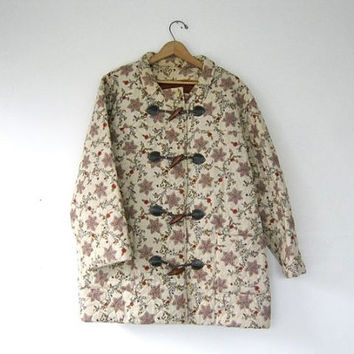 STOREWIDE SALE. 70s quilted coat. sweater jacket with toggles.