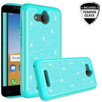 Alcatel Tetra Case, Tetra Glitter Bling Heavy Duty Shock Proof Hybrid Case with [HD Screen Protector] Dual Layer Protective Phone Case Cover for Alcatel Tetra W/Temper Glass - Teal
