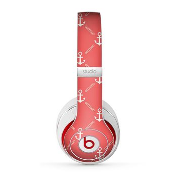 The Coral & White Vintage Solid Color Anchor Linked copy Skin for the Beats by Dre Studio (2013+ Version) Headphones