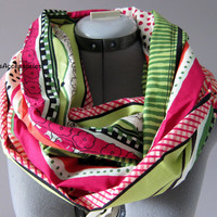 Boho Cotton Pink and Green Infinity Scarf