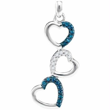 10kt White Gold Women's Round Blue Color Enhanced Diamond Triple Cascading Heart Pendant 1-6 Cttw - FREE Shipping (US/CAN)