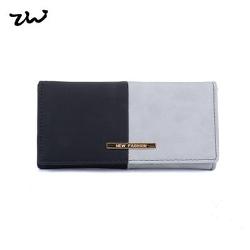 2017 ZIWI new Women Wallet Long Purse Stitching pattern Splicing color having  cell phone pocket and note compartment VKP1505