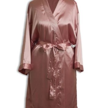 New Womens Satin Robe - Side Pocket