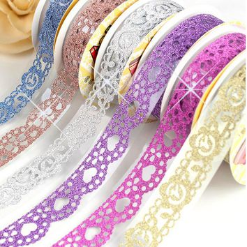 Roll Luxury Bling Glitter Crystal Diamond Washi Tape Masking DIY Scrapbooking Lace Tape Sticker