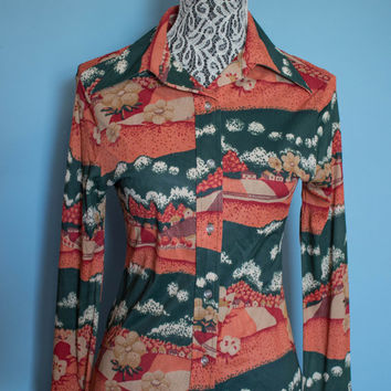 Vintage 1970's Funky Button Down Shirt