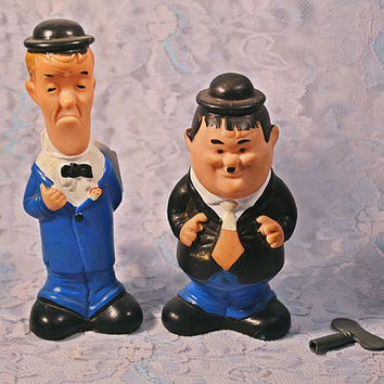 FREE SHIPPING Laurel And Hardy Wind Up Dolls, Larry Harmon Pictures, 1960's Lakeside Toys