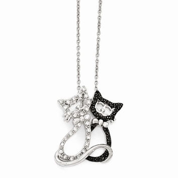 Sterling Silver Black And White CZ Two Cats Necklace