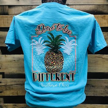 Southern Chics Dare to be Different Leopard Pineapple Comfort Colors Girlie Bright T Shirt