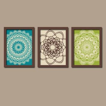 MANDALA Wall Art, Teal Brown Green, Medallion Decor, Mandala Bedroom Pictures, Bathroom Decor, Home Decor, Set of 3 Canvas or Print Pictures