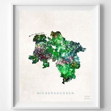 Niedersachsen Map, Germany, Print, Lower Saxony, Watercolor, Europe, Home Town, Poster, Country, Wall Decor, Painting, Bedroom, World